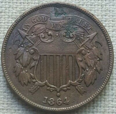 "1864 Two Cent Piece - XF - Bold ""WE"""