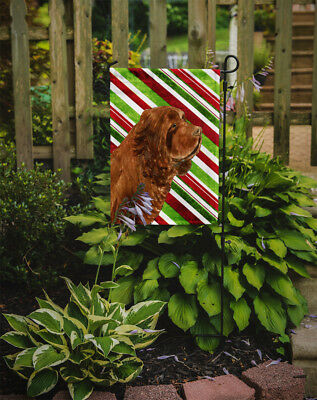 Sussex Spaniel Candy Cane Holiday Christmas Flag Garden Size