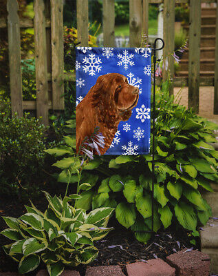 Carolines Treasures  SS4648GF Sussex Spaniel Winter Snowflakes Holiday Flag Gard