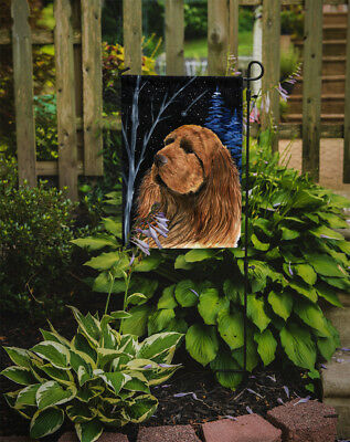 Carolines Treasures  SS8391GF Starry Night Sussex Spaniel Flag Garden Size