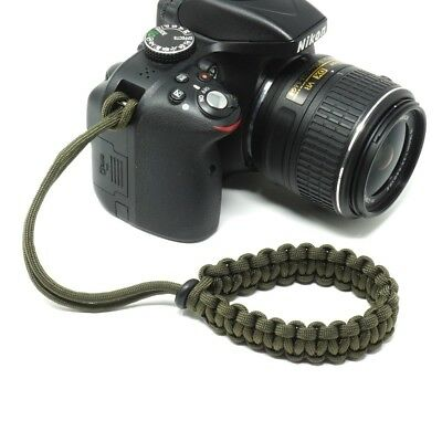 """The """"Cordy Classic"""" Olive Paracord Camera Wrist Strap - Handmade by Cordweaver"""