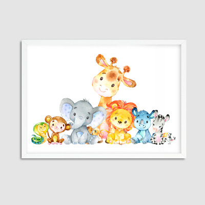 Watercolour Animals Nursery Decor / Nursery Animal Print / Bedroom / Playroom