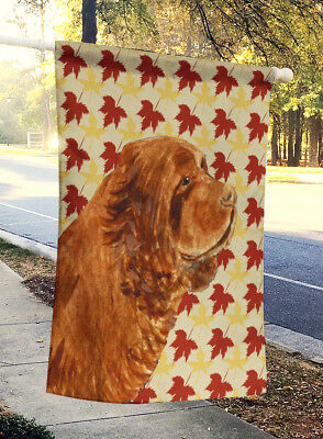 Carolines Treasures  SS4346CHF Sussex Spaniel Fall Leaves Portrait Flag Canvas H