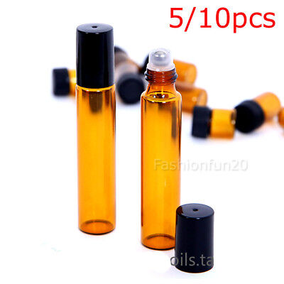 10ml Amber Glass Bottles Roller Rollerball Perfume Essential Oil Roll On Ball AU