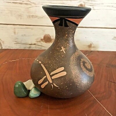 Dragonfly Pottery Vase Authentic Native American Cochiti Pueblo Signed by Artist