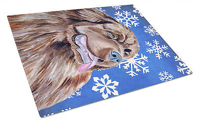 Newfoundland Winter Snowflakes Holiday Glass Cutting Board Large