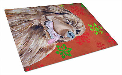 Newfoundland Red and Green Snowflakes Christmas Glass Cutting Board Large