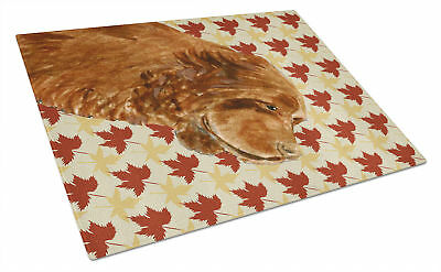 Sussex Spaniel Fall Leaves Portrait Glass Cutting Board Large