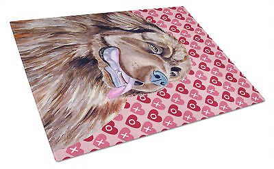 Newfoundland Hearts Love and Valentine's Day Portrait Glass Cutting Board Large