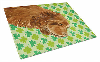 Sussex Spaniel St. Patrick's Day Shamrock Portrait Glass Cutting Board Large