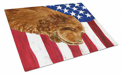 USA American Flag with Sussex Spaniel Glass Cutting Board Large