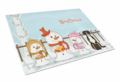 Merry Christmas Carolers Greater Swiss Mountain Dog Glass Cutting Board Large