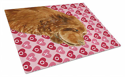 Sussex Spaniel Hearts Love and Valentine's Day Glass Cutting Board Large
