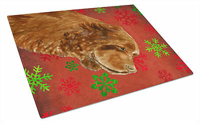 Sussex Spaniel Red and Green Snowflakes Christmas Glass Cutting Board Large