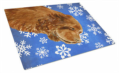 Sussex Spaniel Winter Snowflakes Holiday Glass Cutting Board Large
