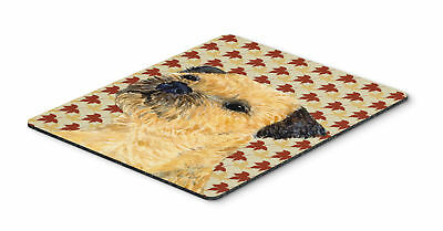 Border Terrier Fall Leaves Portrait Mouse Pad, Hot Pad or Trivet