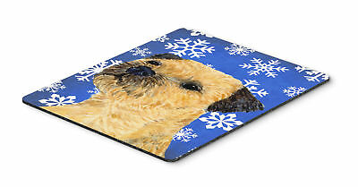 Border Terrier Winter Snowflakes Holiday Mouse Pad, Hot Pad or Trivet