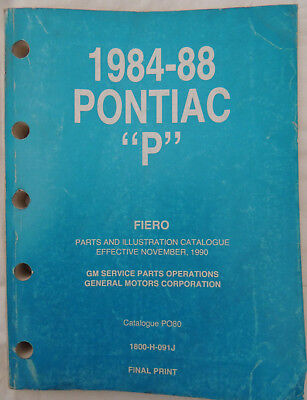 1984-88 Pontiac P GM Fiero Parts Illustration Catalogue Service Parts