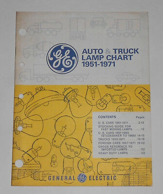 Vintage GE General Electric AUTO & TRUCK LAMP CHART 1951-1971