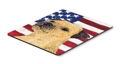 USA American Flag with Border Terrier Mouse Pad, Hot Pad or Trivet