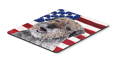 Border Terrier Mix USA American Flag Mouse Pad, Hot Pad or Trivet