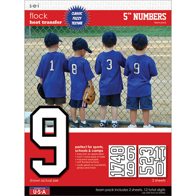 "SEI 9-118 Sport Letter Transfers 5"" Team Pack 2 Sheets/Pkg-White"