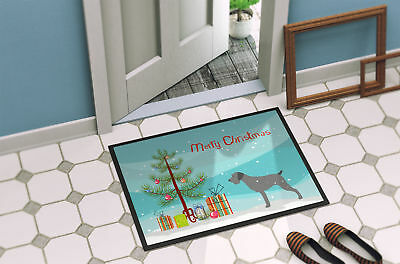 German Wirehaired Pointer Merry Christmas Tree Indoor or Outdoor Mat 18x27