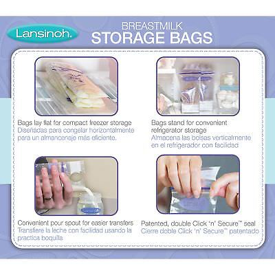 Lansinoh Breastmilk Storage Bags With Convenient Pour Spout and Patented...