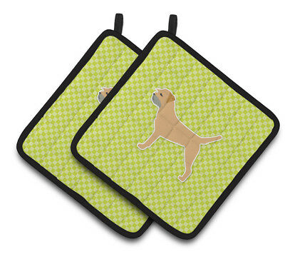 Border Terrier Checkerboard Green Pair of Pot Holders