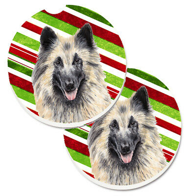Belgian Tervuren Candy Cane Holiday Christmas Set of 2 Cup Holder Car Coasters