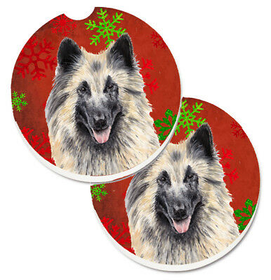 Belgian Tervuren Red and Green Snowflakes Holiday Christmas Set of 2 Cup Holder