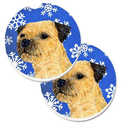 Border Terrier Winter Snowflakes Holiday Set of 2 Cup Holder Car Coasters