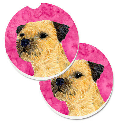 Pink Border Terrier Set of 2 Cup Holder Car Coasters