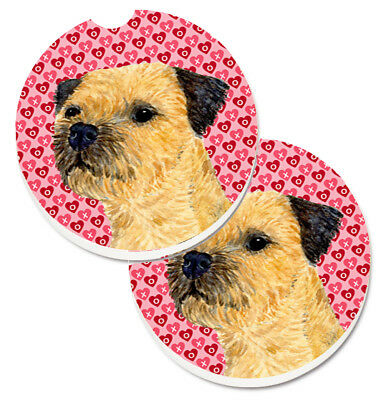 Border Terrier Hearts Love and Valentine's Day Portrait Set of 2 Cup Holder Car