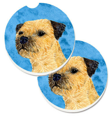 Blue Border Terrier Set of 2 Cup Holder Car Coasters