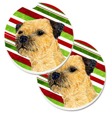 Border Terrier Candy Cane Holiday Christmas Set of 2 Cup Holder Car Coasters