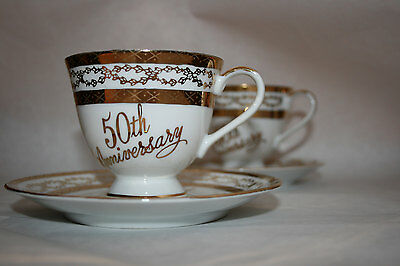 Vintage 50th Anniversary cup and saucer set for 2, gold trim, JAPAN