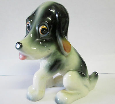 "1960'S Basset Hound  Dog Figurine Japan 5"" Big Eyes Whimsical YOKO BOEKI CLOVER"