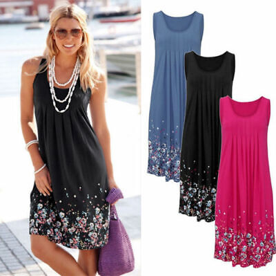 Womens Summer Beach Dress Ladies Holiday Sleeveless Long Loose Mini Dresses