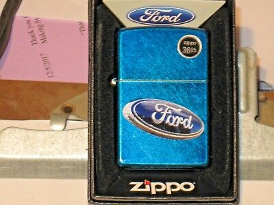 New Windproof Zippo USA Lighter 06263 Licensed Ford Oval Logo Sign Cenrulean Cs