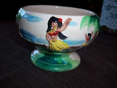 VTG Adorable HandPainted Japanese Small Planter-Hula Girls Dancing on the Beach