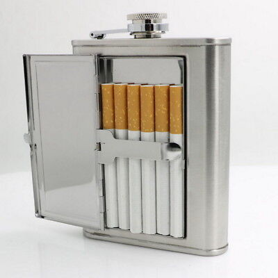 Unique Stainless Steel Wine Flagon Hip Flask Portable Flask W/ Cigarette Case