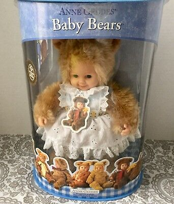 Anne Geddes Baby Girl Bear Doll with Eyelet White Apron NIB