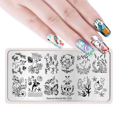 NICOLE DIARY Nail Art Stamping Plates Nature World Series Horse Rabbit Dolphin