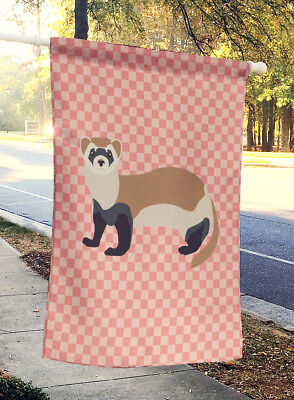 Carolines Treasures  BB7878CHF Ferret Pink Check Flag Canvas House Size