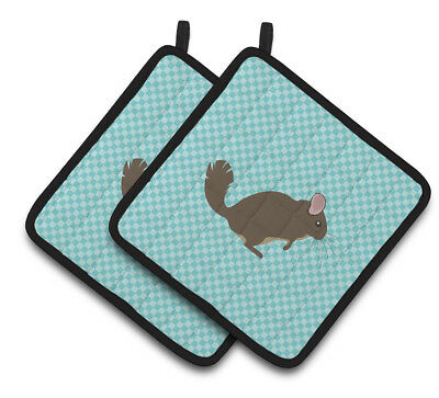 Carolines Treasures  BB8049PTHD Chinchilla Blue Check Pair of Pot Holders