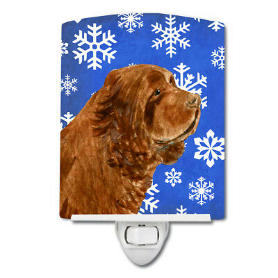 Sussex Spaniel Winter Snowflakes Holiday Ceramic Night Light