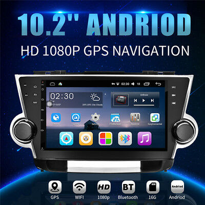 Car GPS Navigation DVD Radio Stereo WiFi Android 6.0 For Toyota Highlander 09-13