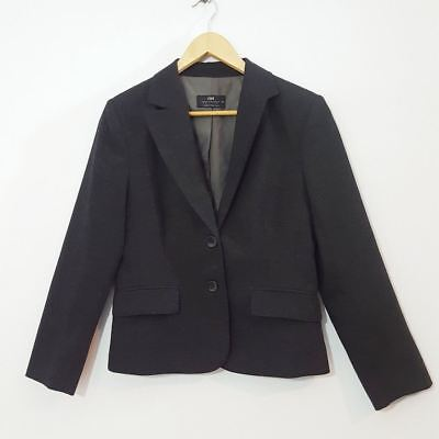 CUE Charcoal Grey Jacket 12 Wool Blend Tailored Perfect Corporate Work Wear
