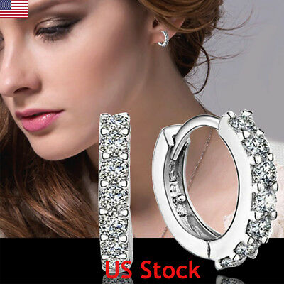 Charm Crystal 925 Sterling Silver Stud Hoop Earrings Eardrop Women US Jewelry